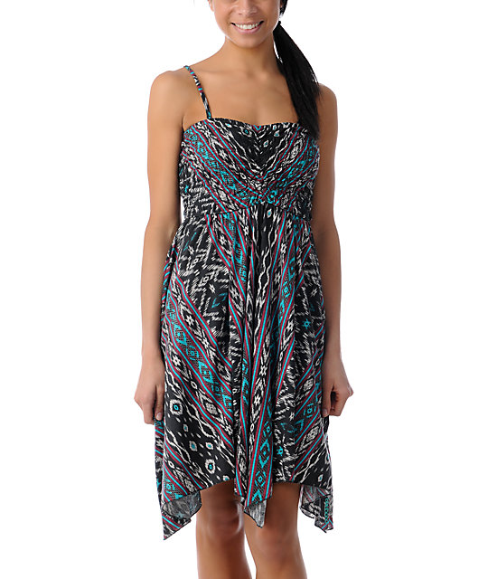 Billabong Bretton Handkerchief Berry Print Strapless Dress