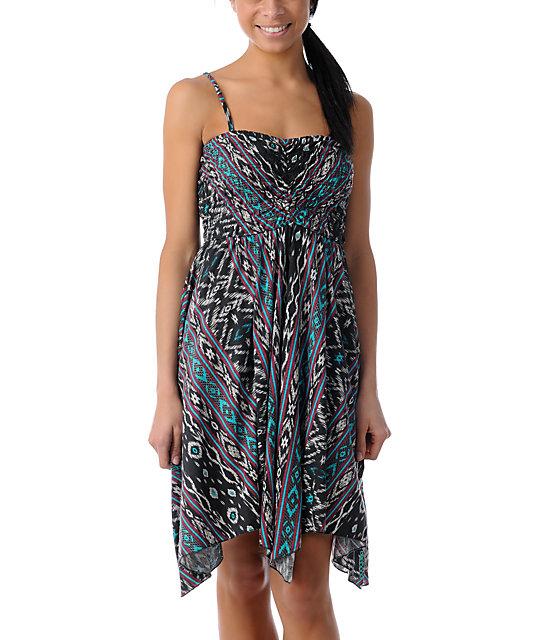 Billabong Bretton Handkerchief Berry Print Strapless Dress