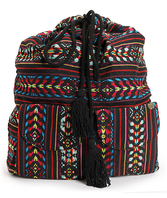 Billabong Canyon Cruz Black Tribal Print Rucksack Backpack