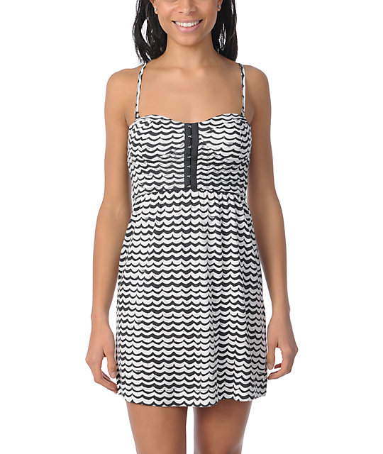 Billabong Charity Black & White Stripe Bandeau Tube Dress