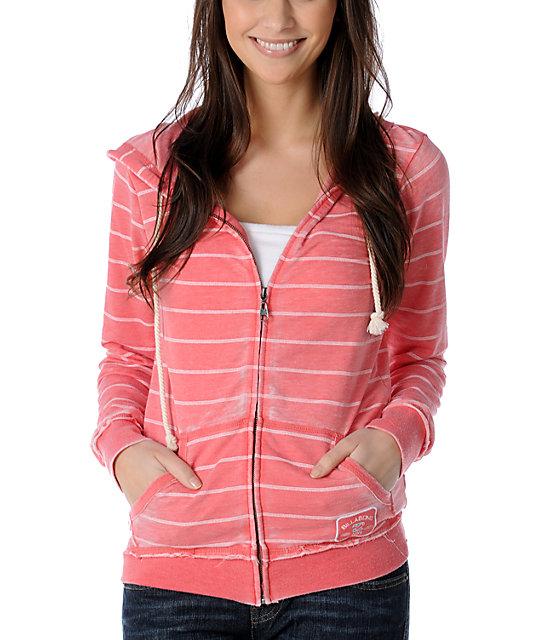 Billabong Coral Love & Stripes Zip Up Hoodie