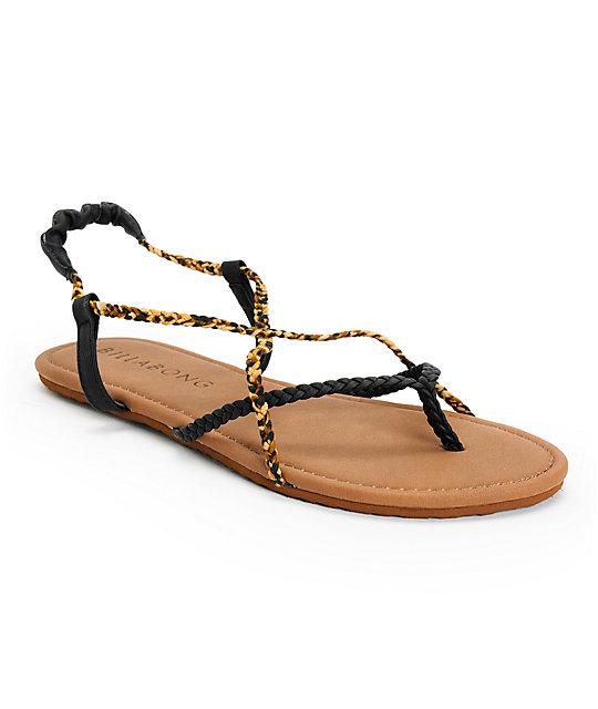 Billabong Crossing Over Black & Leopard Print Sandals