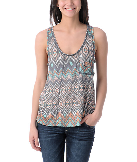 Billabong Dont Change Native Print Hi-Low Tank Top