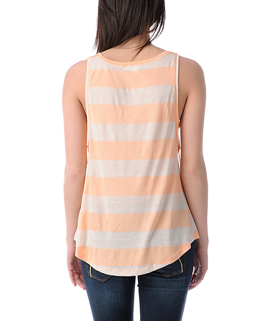 Billabong Dont Change Peach Stripe Hi-Low Tank Top