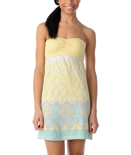 Billabong Dreamin On Yellow Knit Dress