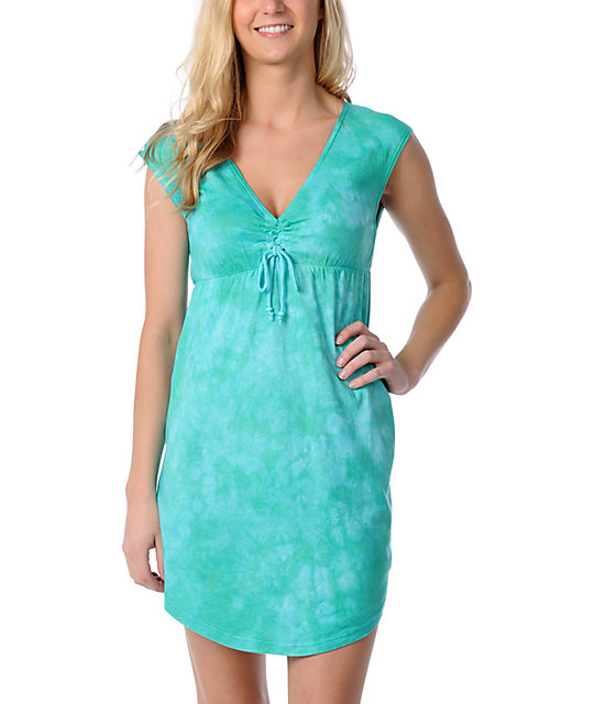 Billabong Dynesty Teal Tie Dye Dress