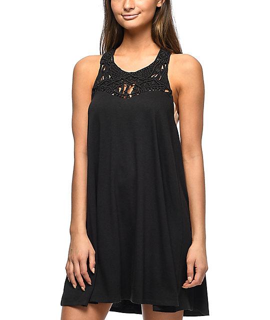 Billabong Easy Show Black Macrame Dress