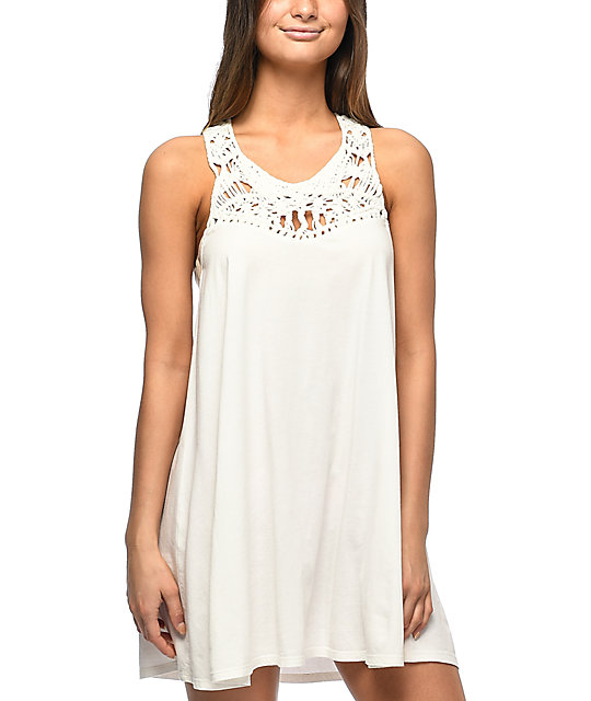 Billabong Easy Show White Macrame Dress