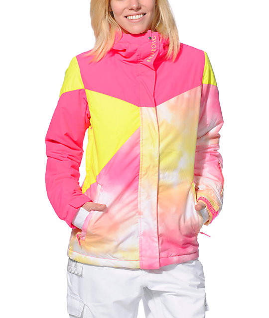 Billabong Flake Pink & Yellow 8K Snowboard Jacket