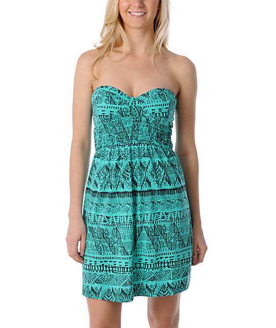 Billabong Friday Teal Corset Strapless Dress