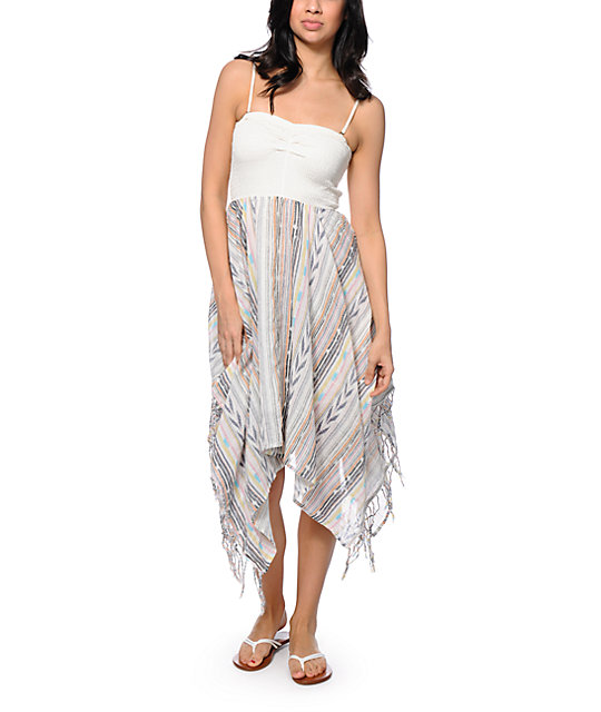 Billabong Good Love Cream & Stripe Strapless Dress