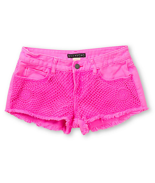 Billabong Hopeless Romantic Passport Pink Cut Off Shorts