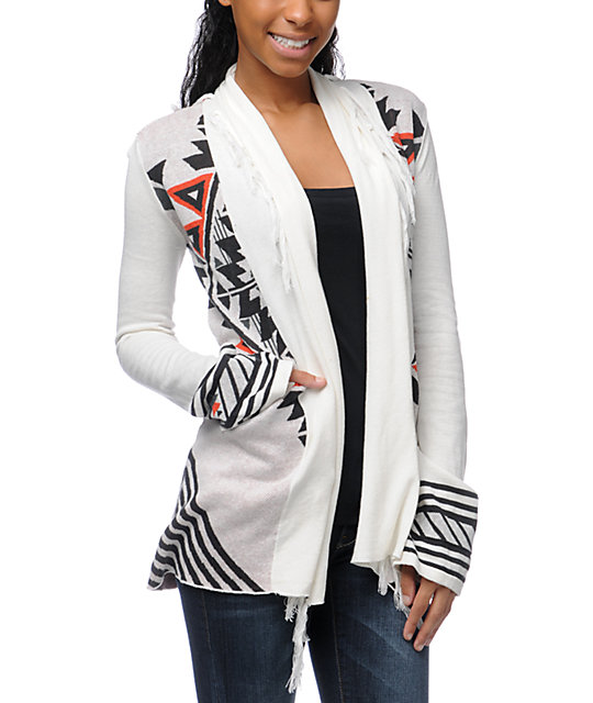 Billabong Issah Tie Native Print White Cardigan Sweater