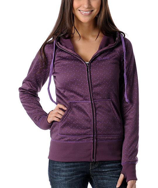 Billabong Linger Burgundy Tech Fleece Jacket