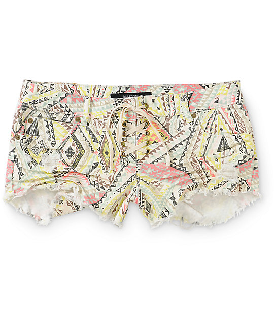 Billabong Lite Hearted Bandit Tribal Denim Shorts