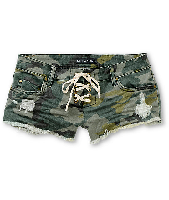 Billabong Lite Hearted Camo Print Cut Off Shorts