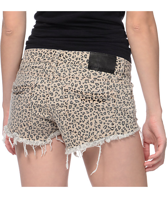 Billabong Lite Hearted Cheetah Print Cut Off Shorts