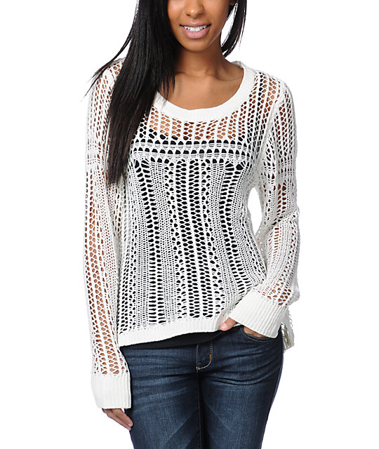 Billabong Liv For Luv Natural Open Knit Sweater