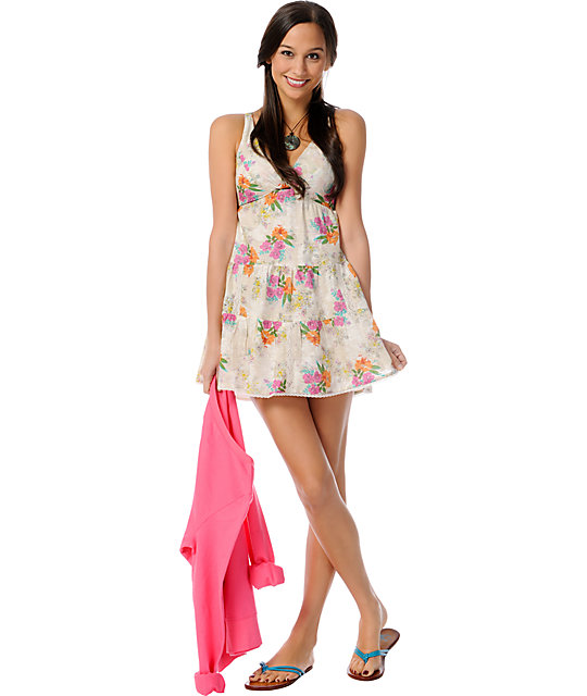 Billabong Love Bucket Woven Tiered Floral Print Dress