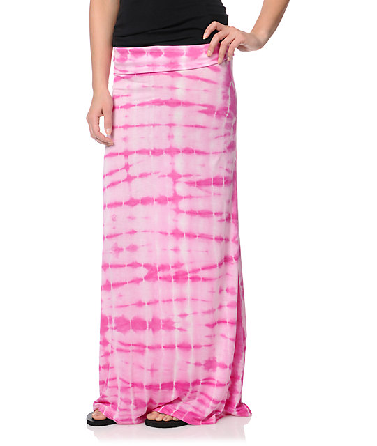 Billabong Midway Luv Pink Tie Dye Maxi Skirt