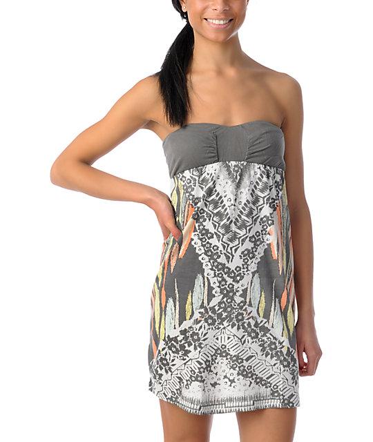 Billabong Moxie Grey Strapless Dress