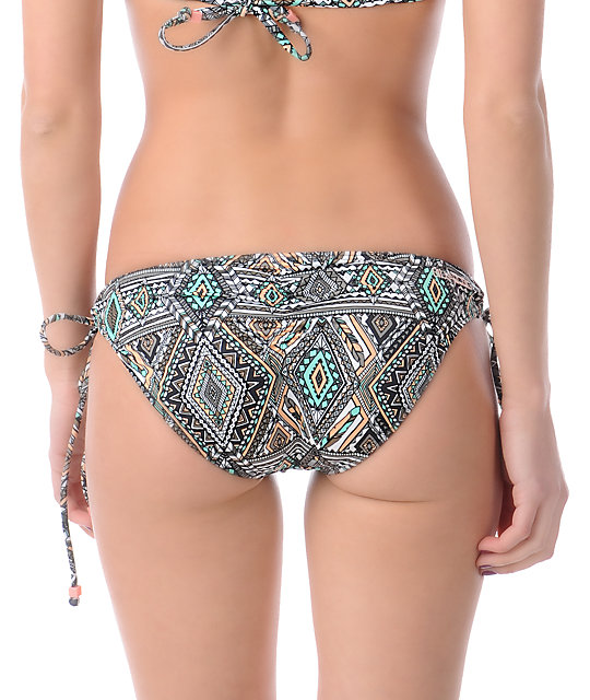 Billabong Native Dream Jean Charcoal Tie Side Bikini Bottom