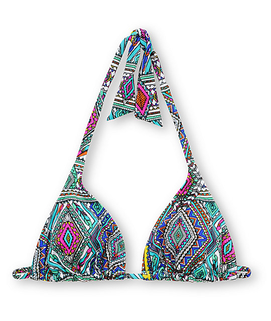 Billabong Native Dream Jean Turquoise Triangle Bikini Top