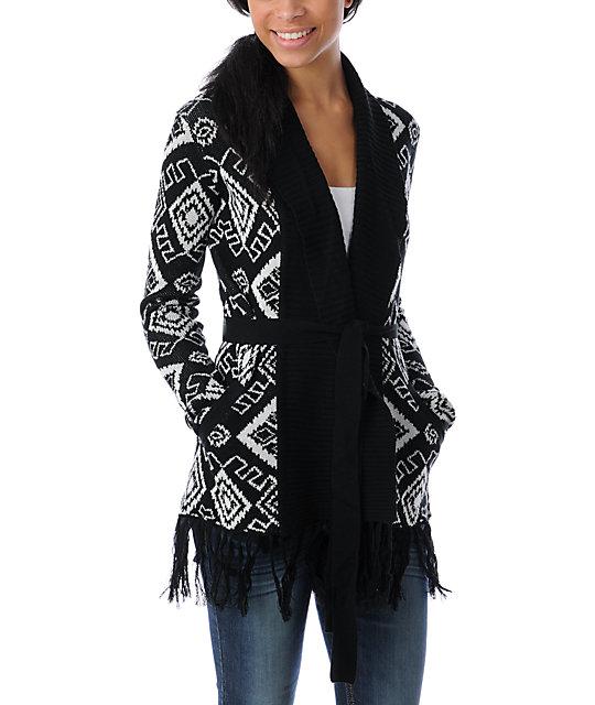 Billabong Paige Belted Fringe Black & White Cardigan Sweater