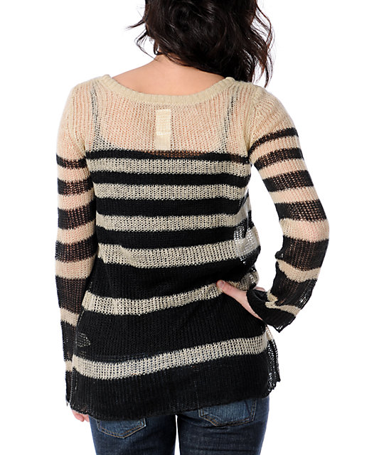 Billabong Portobella Black & Creme Stripe Knit Crew Neck Sweater