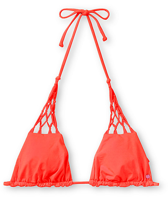 Billabong Sammy Neon Coral Triangle Bikini Top