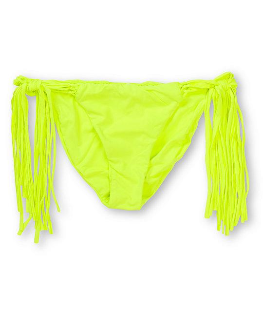 Billabong Sammy Neon Yellow Side Tie Bikini Bottom at ...