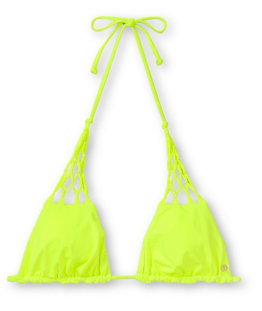 Billabong Sammy Neon Yellow Triangle Bikini Top