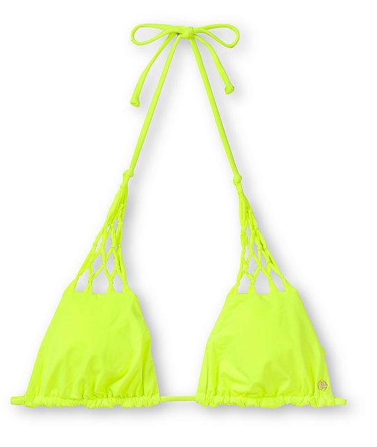 Billabong Sammy Neon Yellow Triangle Bikini Top