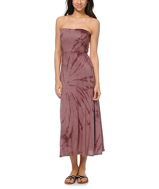 Billabong Skirtskee Mauve Tie Dye Maxi Skirt