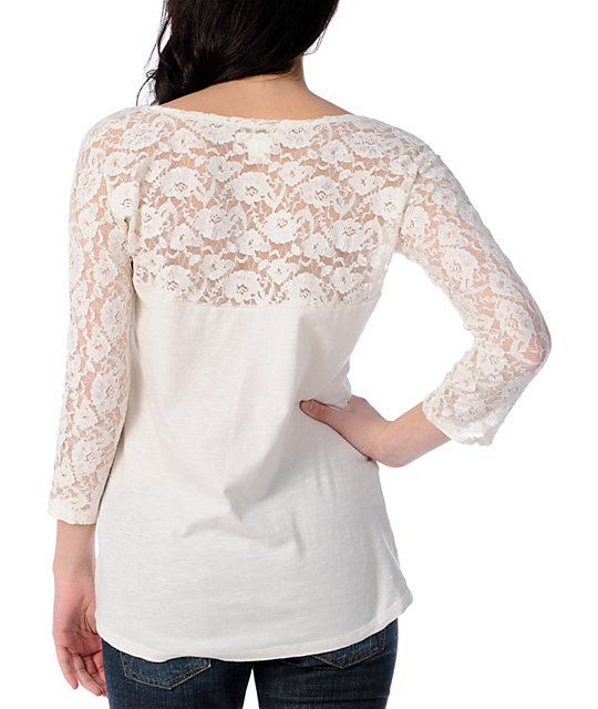 Billabong Smoke Screen White Lace Top