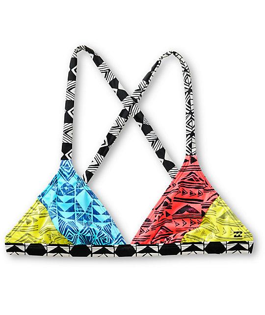 Billabong Surfari Multicolor Tribal Print Triangle Bikini Top