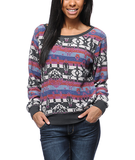 Billabong Thea Printed Fleece Crew Neck Sweatshirt
