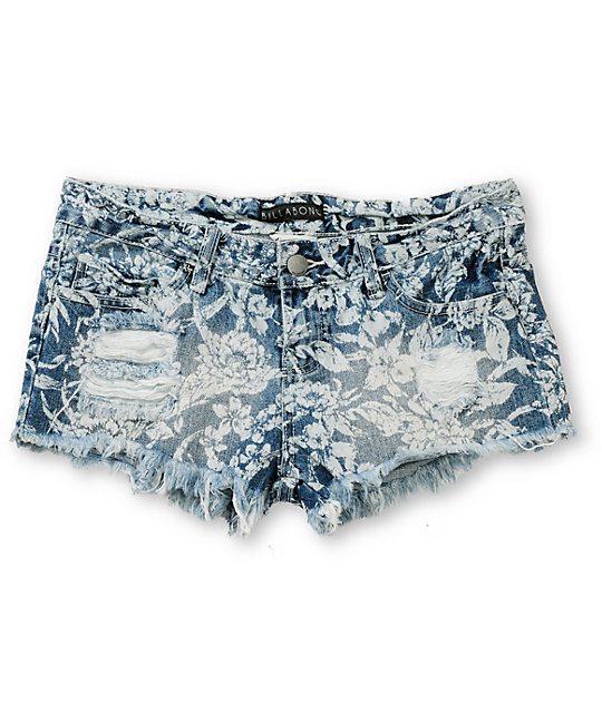 Billabong Timeskeeps Floral Blue Denim Cut Off Shorts