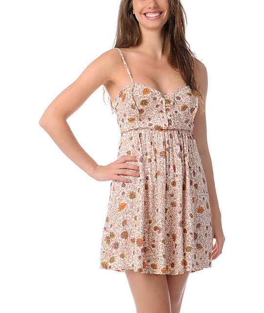 Billabong Tucked Away Floral Print Woven Dress