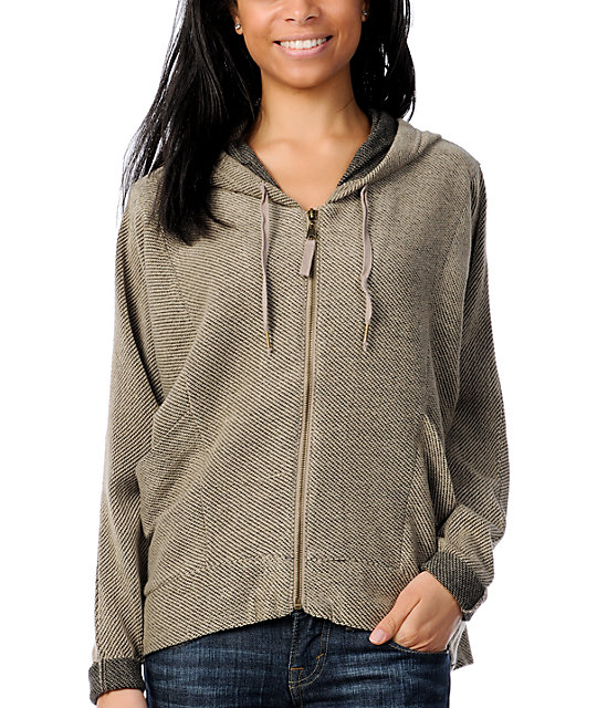 Billabong Wicked Ways Khaki Zip Up Hoodie