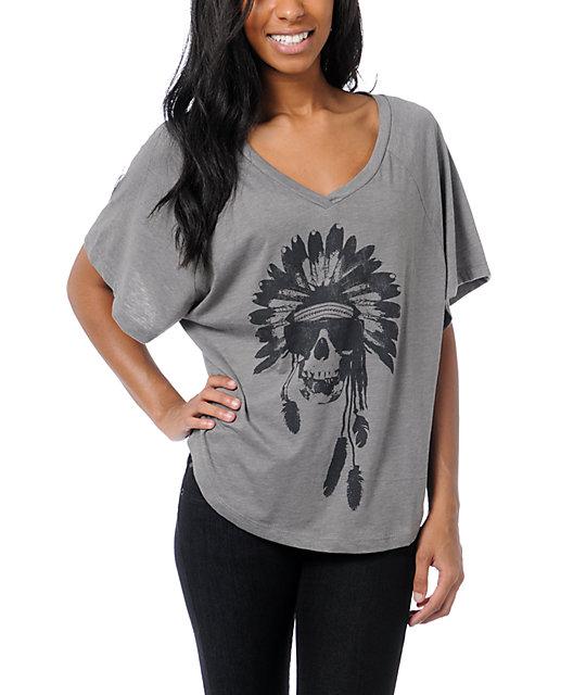 Billabong Wild And Fast Grey V-Neck T-Shirt