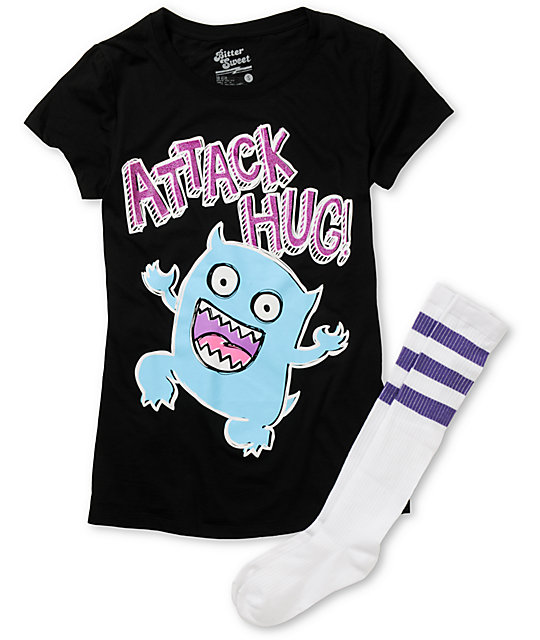 Bitter Sweet Attack Hug Black T-Shirt & Sock Pack