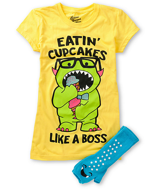 Bitter Sweet Boss Cakes Graphic T-Shirt & Hand Warmer Pack