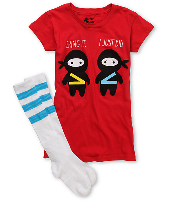Bitter Sweet Bring It Red T-Shirt & Tube Sock Pack