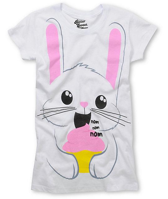 Bitter Sweet Bunny Nom Nom White Glitter T-Shirt