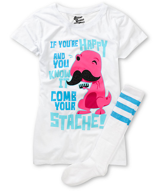 Bitter Sweet Comb Your Stache Graphic T-Shirt & Socks Pack