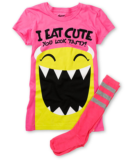 Bitter Sweet Eat Cute Graphic T-Shirt & Socks Pack