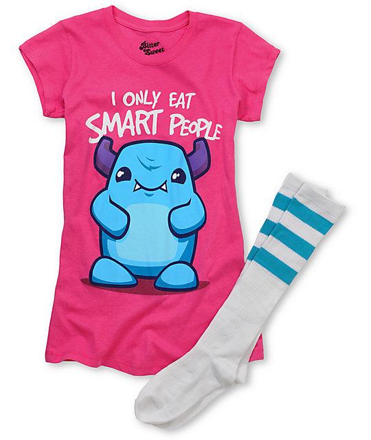 Bitter Sweet Eat Smart Pink T-Shirt & Blue Tube Socks Pack