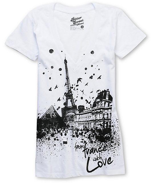 Bitter Sweet From France With Love  White V-Neck UV Ink T-Shirt