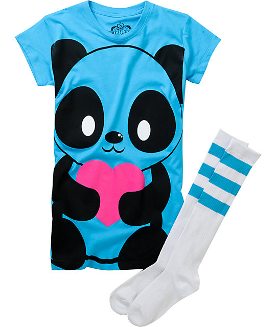 Bitter Sweet Giant Panda Turquoise T-Shirt & Tube Socks Pack